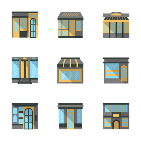 boutique display: Front view elements of stores, markets, cafe and other commercial buildings. Flat color vector icons set. Storefronts and showcases. Elements of web design for site or mobile app. Illustration