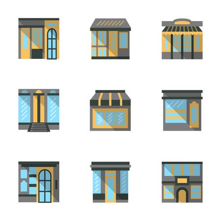 escaparates de tiendas: Ver los elementos frente a las tiendas, mercados, caf�s y otros edificios comerciales. Iconos vectoriales de color plano establecen. Escaparates y vitrinas. Elementos de dise�o web para el sitio o aplicaci�n m�vil.