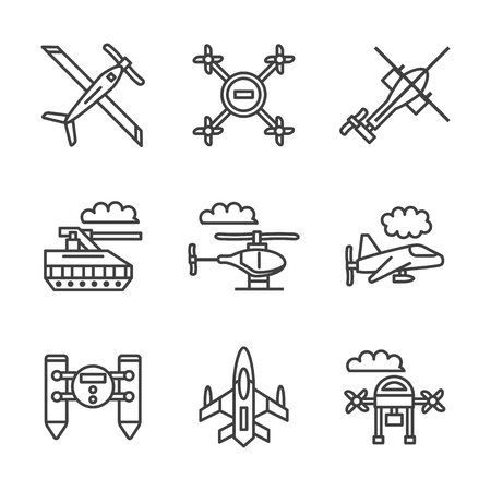unmanned: Mode of military unmanned transport. UAV, tanks, robots and other samples. Flat black line vector icons set. Design elements for website or mobile app.