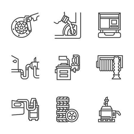 repair shop: Symbols of service for automobile. Repair shop, car functional testing. Flat black line style vector icons set.  Design elements for website or mobile app.