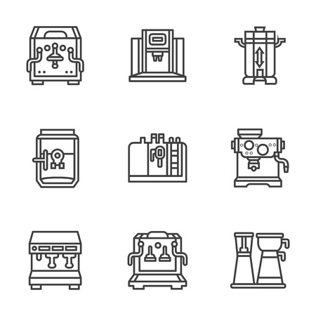 coffee machines: Professional coffee machines. Equipment for coffee shop, cafe and restaurant. Flat black line style vector icons set. Design elements for website or mobile app. Illustration