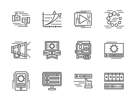 discussion: Video symbols. Sharing, analytic, video processing, discussion and other symbols for blogging, video blog. Flat black line vector icons set. Design elements for website or mobile app.