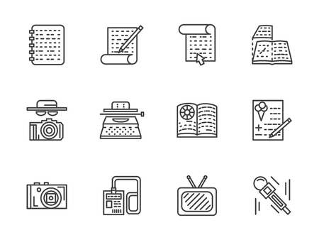 type writer: Journalism abstract symbols. Paparazzi, interview, type writer, recording and broadcast. Flat line media publishing vector icons set. Design elements for website or mobile app. Illustration