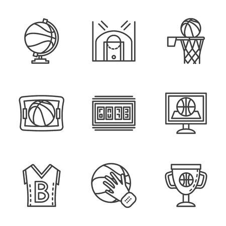 competitive sport: Symbols of basketball game. Competitive sport. Flat black line vector  icons set. Design elements for website or mobile app. Illustration