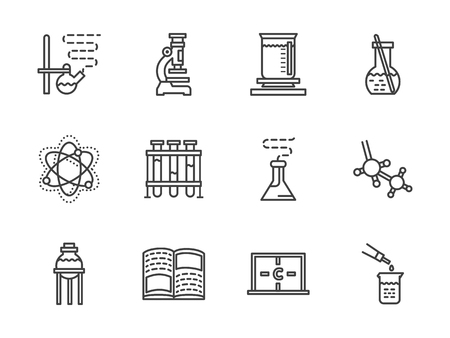 Laboratory and chemistry research symbols. School and education. Flat black line vector icons set. Design elements for website or mobile app.