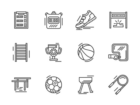 physical education: Physical culture objects and equipment. Fitness, physical education, workout. Flat black line vector  icons set. Design elements for website or mobile app.