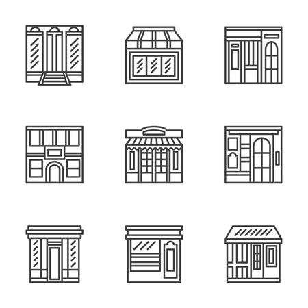 outdoor cafe: Commercial architecture design symbols. Storefront, facade, showcase, outdoor cafe. Flat black line vector  icons set. Design elements for website or mobile app. Illustration