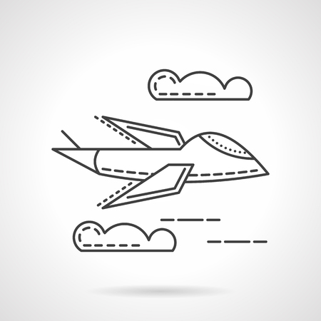 unmanned: Flying military airplane. Unmanned aerial vehicle. Thin flat line style vector icon. Design elements for site, business or mobile. Illustration