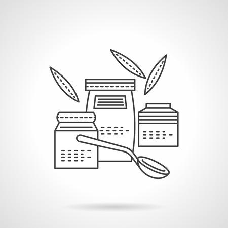 퓌레: Three jars with organic or baby food, spoon and leaves. Flat thin line vector icon. Design elements for site, business or mobile.