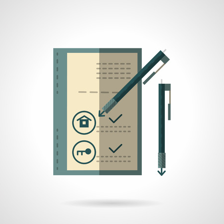 acquirement: Signing of the agreement buying house. Real estate market and rent of property symbols. Flat color vector icon. Design elements for site, business or mobile. Illustration