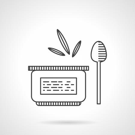 퓌레: Baby nutrition. Jar with fruit of vegetables puree and spoon. Thin flat line style vector icon. Design elements for site, business or mobile. 일러스트