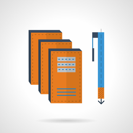 blue pen: Yellow copybooks and blue pen. Items for writing. Flat color vector icon. Design elements for site, business or mobile. Illustration