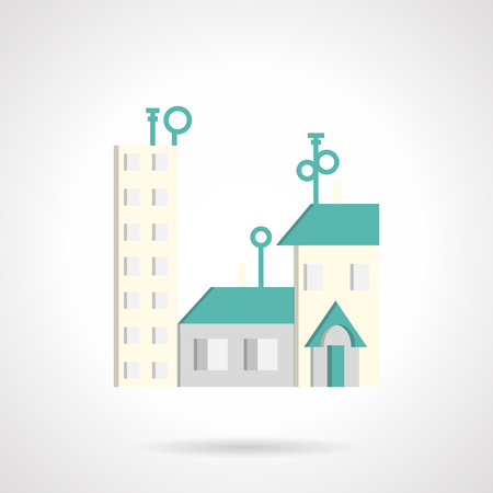 for rental: Cityscape with residential houses with blue roof. Symbols for rental of property, housing. Flat color vector icon. Design elements for site, business or mobile. Illustration