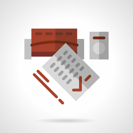 documentation: Signing documents for long-term rent of property. Flat color style abstract vector icon. Design elements for site, business or mobile.
