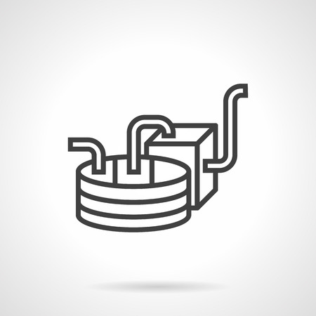 ferment: Part of wine production equipment. Alcohol industry. Abstract simple line style vector icon. Design elements for site, business or mobile. Illustration