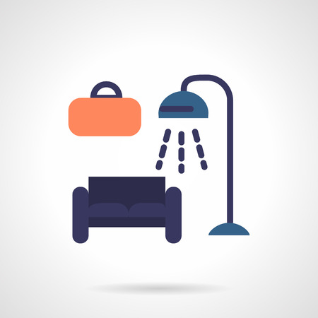 furniture shop: Blue sofa, floor lamp and wall picture. Furniture shop symbols. Flat color vector icon on white background. Design elements for site, business or mobile.