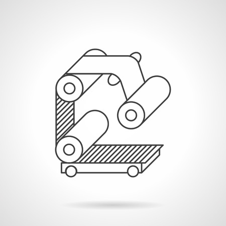 manufacturing equipment: Manufacturing equipment. Elements of roller conveyor with belt. Flat line style vector icon. Design elements for site, business or mobile.
