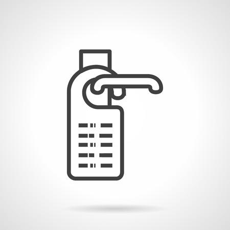 소요: Door  label hanging on knob. Black simple line style vector icon. Symbols for hotel, residential services. Do not disturb sign. Design elements for site, business or mobile. 일러스트