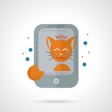 smiling cat: Orange smiling cat taking self photo with gray smartphone. Social networks trend. Pets lifestyle. Flat colorful vector icon. Design elements for site, business or mobile. Illustration