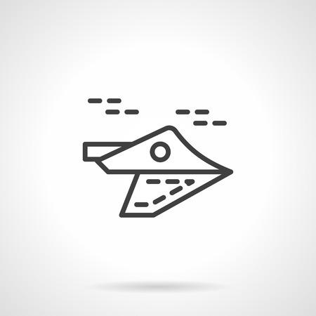 空飛ぶ無人機。軍事ユニット。単純な線形ベクトル アイコン。サイト、ビジネスまたはモバイルのデザイン要素です。