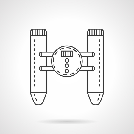 controlled: Unmanned robotic military floating vehicle. Flat thin line style vector icon. Design elements for site, business or mobile.