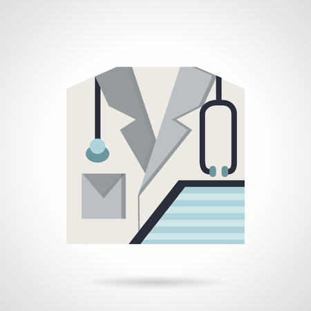 hospital gown: Doctor and medic symbols. Doctor gown with stethoscope and clipboard. Flat color style vector icon. Design elements for site, business or mobile.