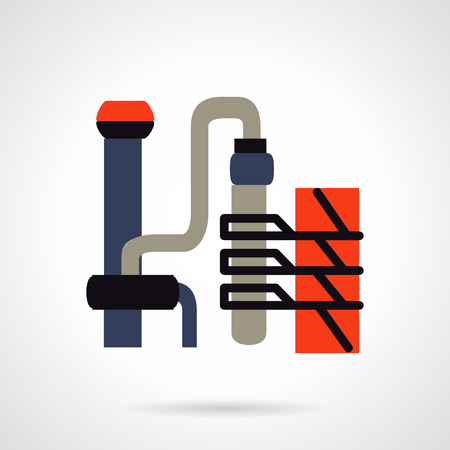 petrochemical: Petrochemical industry. Oil refinery factory. Flat colored vector icon. Design elements for site, business or mobile.