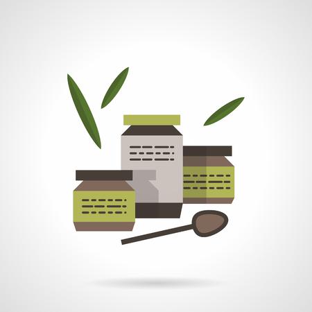 퓌레: Organic baby food in jars, spoon and leaves. Healthy nutrition. Flat color style vector icon. Single element of web design for site or mobile app. 일러스트