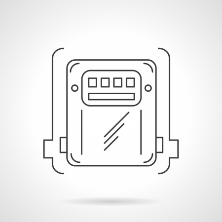 gas appliances: Counter box for measuring electricity power, gas or water. Domestic and industrial appliances. Flat thin line vector icon. Single element of web design for site or mobile app.