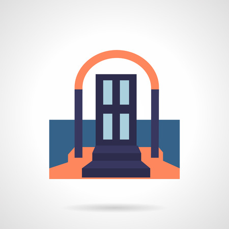 front door: Front door with arch and stairs with carpet. Symbols for rent of property, housing, real estate. Flat color vector icon. Single element of web design for site or mobile app. Illustration
