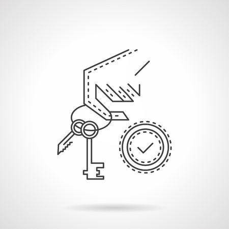 property for sale: Hand holding a house key. Property for sale symbol. Buying a house. Thin line style vector icon. Single element of web design for site or mobile app. Illustration