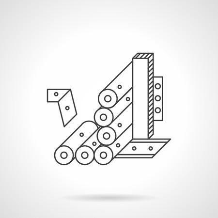 fliesband: Anlagen zur Herstellung von Tapeten. F�rderer mit Tapetenrollen. Flache Linie Vektor-Symbol. Einzelnes Element der Web-Design f�r die Website oder mobile Anwendung.