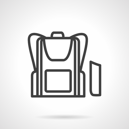 knapsack: Accessories for school children. Knapsack and pencil box. Black simple line vector icon. Single element of web design for site or mobile app. Illustration