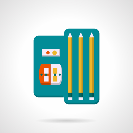 school kit: Kit of three pencils and sharpener. School and office supplies, drawing tools. Flat colorful vector icon. Single element of web design for site or mobile app. Illustration