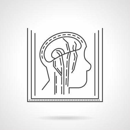 neurosurgery: Magnetic resonance angiogram element a side human head. Medical research. Thin flat line style vector icon. Single element of web design for site or mobile app.
