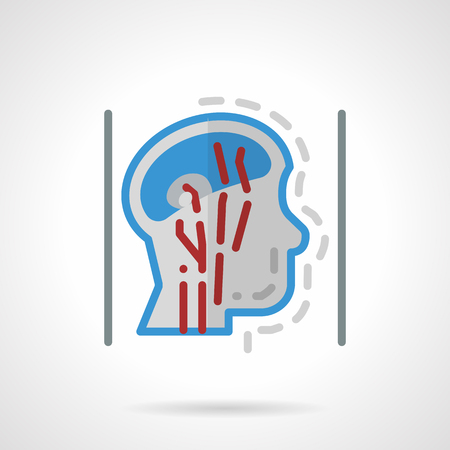blood supply: Blood supply of head and neck, a side view. Medical research. Flat color style abstract vector icon. Single element of web design for site or mobile app. Illustration