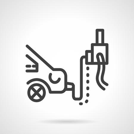 repair shop: Automobile emission inspection in repair shop. Car service equipment. Simple black line vector icon. Single element of web design for site or mobile app. Vectores