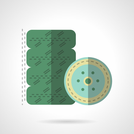 low tire: Kit of green automobile wheels. Symbols and signs for tire service. Flat color style vector icon. Single element of web design for site or mobile app.