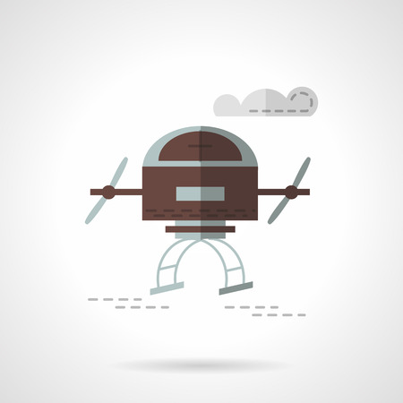 unmanned: Brown color military air drone. Delivery unmanned vehicle. Flat vector icon. Single element of web design for site or mobile app.