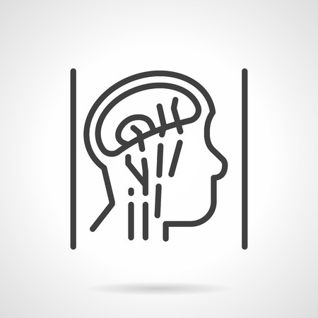 mri head: Schematic vessel of human head and brain. Simple line style vector icon. MRI imaging. Single element of web design for site or mobile app. Illustration