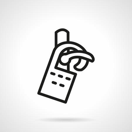 소요: Classic door handle with hanging label. Do not disturb symbol. Black simple line style vector icon. Single element of web design for site or mobile app.