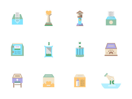 sheltering: Donation and charity symbols. Care of ill people, assistance for animals shelter. Flat color style vector icons and signs set. Web design elements for site and mobile application.