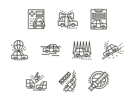 broken contract: Insurance for automobile. Flood, car crash, buying car, evacuation, disaster and other cases for insurance claims. Black simple line vector icons set. Elements of web design for business and site. Illustration