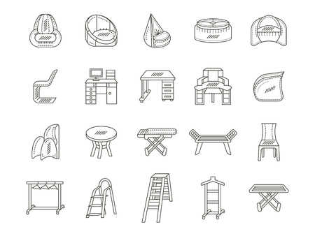 Set of 20 flat thin line style icons vector collection for furniture. Chairs, table, shelves and other objects for home or office interior. Elements of web design for business and site.