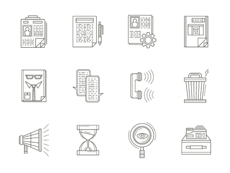 headhunter: Headhunter thin line icons vector collection. Resume, choice, employee, interview and other symbols and signs of RC. Elements of web design for business and site.