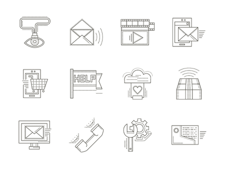 icons site search: Flat thin line style vector icons and signs for online and technical support. Search solutions, help, contacts. Elements of web design for business and site. Illustration