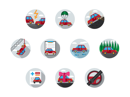 gift accident: Buying a new car documents, driver medical insurance, car evacuation. Set of 10 round flat colored vector icons for automobile insurance service. Elements of web design for business and site. Illustration