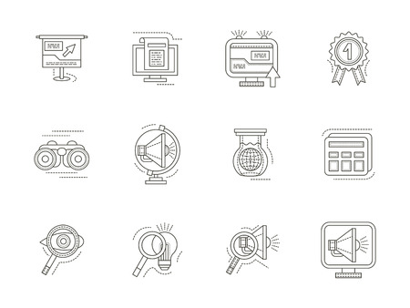 icons site search: Search engine optimization, internet research. Thin flat line vector icons set. Strategy, ideas, magnifier, quality and other symbols. Elements of web design for business and site.