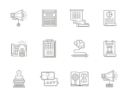 smart card: An account making, SEO, website. Set of 12 thin line vector style web icons. Elements of web design for business and site.