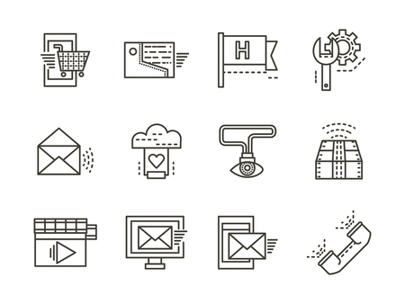 customer sign: Set of black line vector icons and signs for support service. Contact, administration, SEO, help and other service buttons. Elements of web design for business and site.